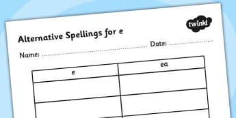 Alternative Spellings for e Table Worksheet-alternative spellings, e, worksheet, e spellings, spellings table, spellings, different spellings, literacy