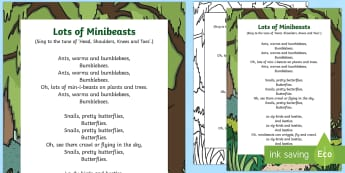 Lots of Minibeasts Song - EYFS, Early Years, Key Stage 1, KS1, songs, music, minibeasts, insects, bugs, creepy crawlies, spide