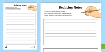 Reducing Notes Activity Sheet - CfE Literacy, reading comprehension strategies, summarising, note taking, shrinking notes, reducing