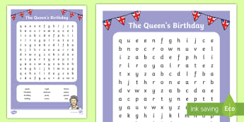 The Queen's Birthday Word Search  - Australia English: The Queen's Birthday, word search, queen, royal, birthday, celebrate, holiday,Au