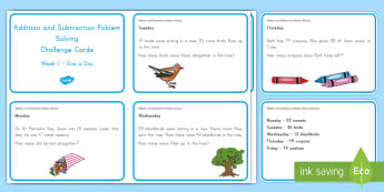 Weekly Addition and Subtraction (1) Challenge Cards - Common Core Math, word problems, problem solving, operations and algebraic thinking