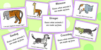 Mixed Up Animals What Am I Guessing Game Cards - SEN, guess