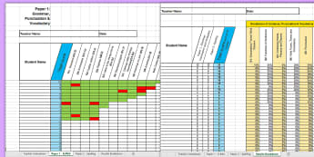 Y6 Grammar, Punctuation and Spelling Analysis Grid for KS2 2017 SAT Paper Assessment Spreadsheet - sats, spag, gps, review, analyse, Y6, 2017, test