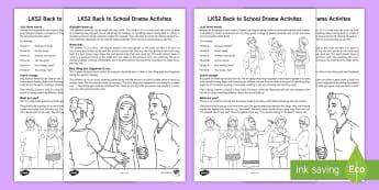 LKS2 Back to School Drama Teaching Ideas - speaking and listening, mime, characterisation, scenes, improvisation