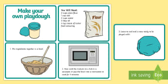Playdough Quick Recipe Cards - Playdough, playdough recipe, making playdough, recipe card, how to make playdough