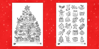 Christmas Mindfulness Coloring Advent Display Calendar - calendar, advent, Christmas, coloring, display, activity