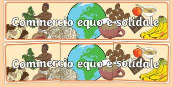 Commercio equo e solidale Striscione - commercio, equo, e, solidale, striscione, importazioni, italiano, italian, materiale, scolastico, sr