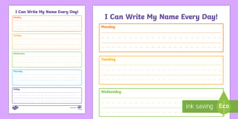 I Can Write My Name Handwriting Activity Sheet - KS1&2 Handwriting day 23rd Jan 2017, handwriting, practice, practise, writing, name, daily