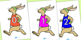 Numbers 0-50 on Running Hare - 0-50, foundation stage numeracy, Number recognition, Number flashcards, counting, number frieze, Display numbers, number posters