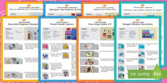 Diwali Craft Activity Pack English/French -  activity, pack, eyfs,diva lamp, decorated elephant,kandil lantern, rangoli pattern