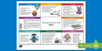 Space CfE Homework Grid - homework, homework choice, homework grid, space, ,Scottish