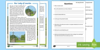 Our Lady of Lourdes Differentiated Reading Comprehension Activity-Irish - Our Lady of Lourdes, Virgin Mary, reading comprehension, vocabulary, Lourdes, Marian shrine, grotto,