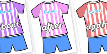 KS1 Keywords on Football Strip - KS1, CLL, Communication language and literacy, Display, Key words, high frequency words, foundation stage literacy, DfES Letters and Sounds, Letters and Sounds, spelling
