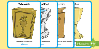 Items I see in the Church A4 Display Poster - Confession & First Communion Resurces,Irish, church, objects, artefacts, religion, baptism, communio