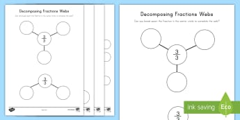Decomposing Fractions Webs Activity Sheet - decomposing fractions, adding fractions, subtracting fractions, webs, worksheet, whole numbers, four