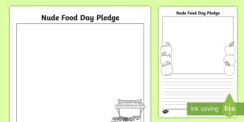 Nude Food Pledge F-2 Activity Sheet - Healthy eating, healthy food, literacy, Personal health, writing,Australia, Worksheet