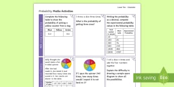 Foundation: Probability (Calculator) Activity Mat - using  applying, reasoning  fluency, problem solving Foundation, revision, GCSE, Maths, probability