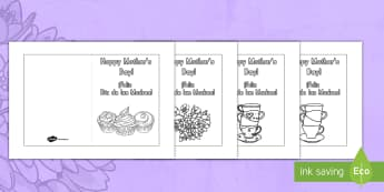 Mother's Day Card Templates (Coloring) US English/Spanish (Latin) - Mother\'s Day Card Template (Coloring) - Design, Mother\'s day card, Mother\'s day cards, Moth