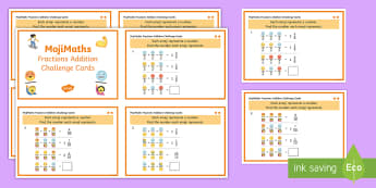 UKS2 MojiMaths 3 Fractions Addition Differentiated Challenge Cards - Mathemoji, Solvemoji, Emoticon, Emoji, Algebra