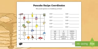 Pancake Recipe Coordinates Activity Sheet - KS2, Maths, coordinaes, pancake day recipe, pancake day coordinates, pancakes,