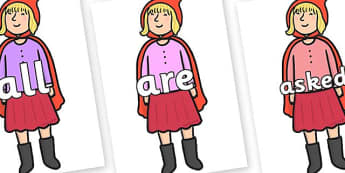 Tricky Words on Red Riding Hood to Support Teaching on The Jolly Christmas Postman - Tricky words, DfES Letters and Sounds, Letters and sounds, display, words