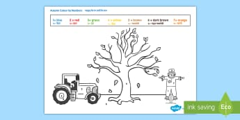 Autumn Themed Colour by Numbers Activity Sheet English/Hindi - Autumn Themed Colour by Numbers - seasons, weather, colouring, autmn, autunm, atumn, waether, numbes