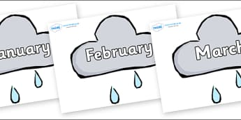 Months of the Year on Weather Symbols (Rain) - Months of the Year, Months poster, Months display, display, poster, frieze, Months, month, January, February, March, April, May, June, July, August, September
