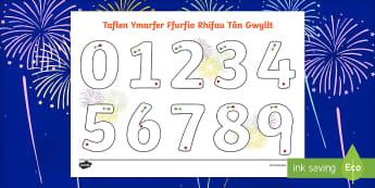 Taflenni Ffurfio Rhifau Noson Tân Gwyllt - tan gwyllt, fireworks, coelcerth, bonfire, Guro Ffowc, Guy Fawkes, lliwgar, colourful, sparklers, ff