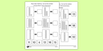 Place Value Tens and Ones Cut and Stick Worksheet - counting, Place value, base 10, partitioning, tens, units, ones