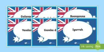 Australian Indigenous Languages Speech Bubbles Display Posters - Mixed Language Hello Speech Bubble Signs - Mixed Language Hello Speech Bubble Signs, mixed language,