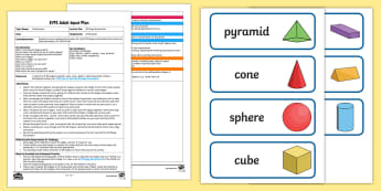 EYFS 3D Shape Exploration Adult Input Plan and Resource Pack - Beginning to use mathematical names for 'solid' 3D shapes , and mathematical terms to describe s
