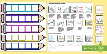 End of KS1 Expectations - Writing Editable Pencil Cards - Editable Writing Target Cards Pencils - writing targets, writing target cards, editable, pencils, ed