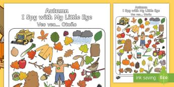 Autumn Themed I Spy With My Little Eye Activity English/Spanish - season, weather, autmn, autunm, atumn, waether, aurum, aurumn, WHEATHER, wetaher, autmn, weaher, whe