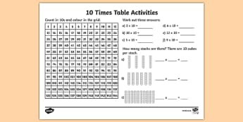 10 Times Table Activity Sheet - 10 times tables, counting 10s, 10s, 10, ten times table, multiplication, multiplying by 10, times tables, multiplication tables, ks2, worksheet, times table