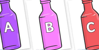 A-Z Alphabet on Bottles - A-Z, A4, display, Alphabet frieze, Display letters, Letter posters, A-Z letters, Alphabet flashcards