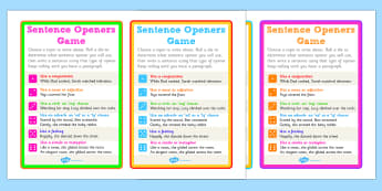 Sentence Openers Dice Activity - game, activity, sentence openers, sentences, sentence help, literacy, dice game, dice activity, sentences dice game, games, fun