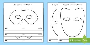 Dessins et bricolages : décore ton masque - Carnaval - mardi gras, carnaval, masques, coloriage, arts plastiques, cycle 1, cycle 2, cycle 3, theâtre, mime