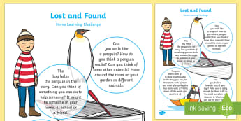 Nursery Home Learning Challenge Sheet to Support Teaching on Lost and Found - Lost and Found, Oliver Jeffers, polar regions, home work, home learning, parents, home school links,