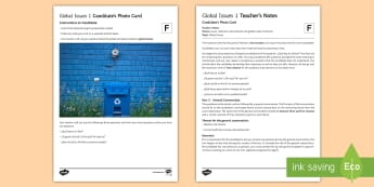 Global Issues 1 Foundation Tier Photo Card Activity  - Spanish, speaking, practice, oral, photo, card, picture, illustration, practice, revision, skills, g