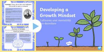 Romanian Translation PowerPoint English/Romanian - Growth Mindset PowerPoint - growth mindset, growth, mindset, EAL