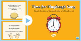 Time for Playdough Play Song PowerPoint - Playdough Play, dough disco, finger gym, fine motor skills, physical development.