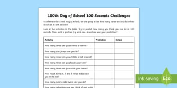100 Days of School '100 Second Challenges' Activity Sheets - 100 Days of School, estimating, time, KS2, KS1, 100 seconds, estimate, maths, accurate, predict, wor