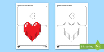Simple Valentine's Pixel Heart Pop Up Card Paper Craft - Valentine's Day, paper craft, pop up, template