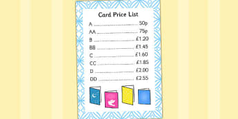 Card Price List - cards, price list, birthday, thank you, card, prices
