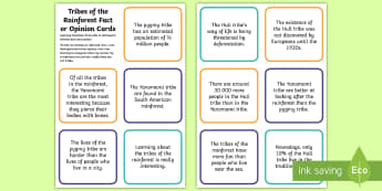 CfE Tribes of the Rainforest Fact or Opinion Cards - rainforest, fact or opinion, tribes of rainforest, LIT 2-08a, fact or opinion cards
