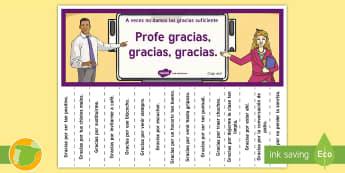 Póster de tiras: Decir gracias - Póster, afiche, decoración de la clase, motivación,  frases, gracias profe, gracias, sala de prof