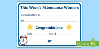 This Week's Attendance Winners Certificate - class scores, winner, display, cert, class atendance, attendance, Improving attendence, celebrating