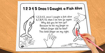 1, 2, 3, 4, 5 Once I Caught a Fish Alive Colouring In Sheet