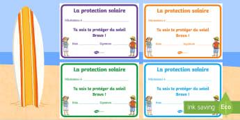 Diplômes : Se protéger du soleil - se protéger du soleil, protection solaire, soleil, diplômes, diplôme, récompenses, été, Sun Sa