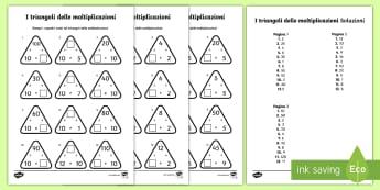 I triangoli delle moltiplicazioni Attività - moltiplicazioni, operazioni, matematica, italiano, italian, calcoli, esercizio, materiale, scolastic